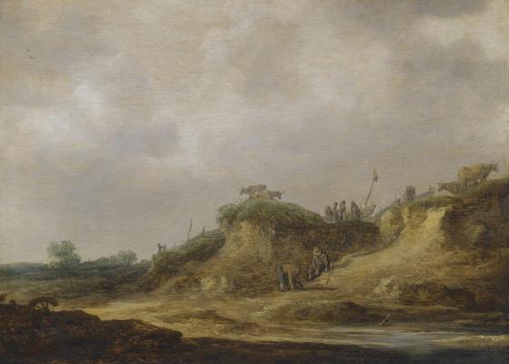 Ян ван Гойен. Пейзаж с крестьянами, пасущими скот
