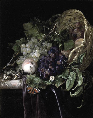 Willem van Aelst. Still life with fruit in basket