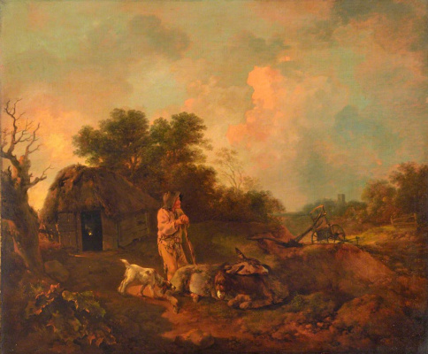 Evening landscape with old peasant and donkeys