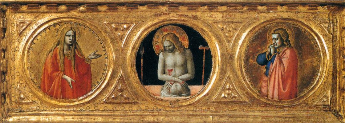 Фра Беато Анджелико. Муж Скорбей со святыми. Пределла алтаря святого Петра Мученика