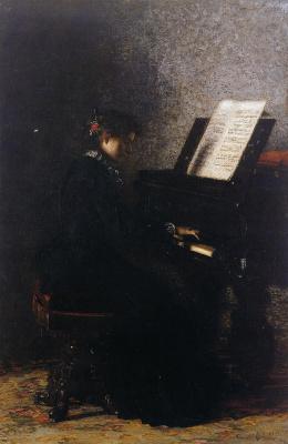 Томас Икинс. Элизабет за пианино