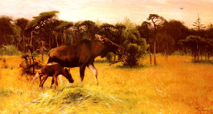 Friedrich Wilhelm Kunert. Moose cow and her calf in a landscape