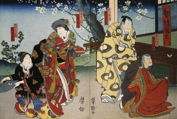 Диптих Актеры Дзицукава Сятидзо, Дзицукава Энсабуро, Фудзикава Томокити III, Араси Кикусабуро