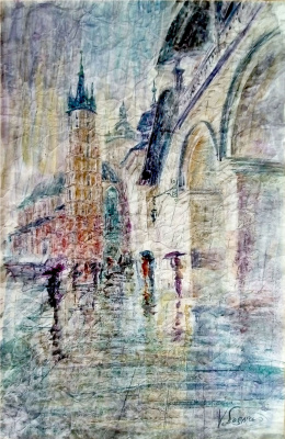 Valerij Ivanovich Sosna. Krakow Town Hall In The Rain