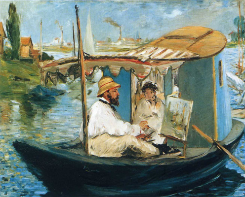 Edouard Manet. Monet and Mrs. Monet in a boat