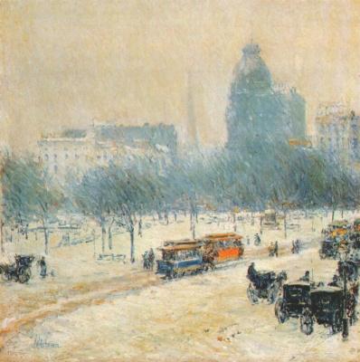Childe Hassam. Winter in Union Square