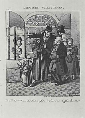 Adolf Friedrich Erdmann von Menzel. Leipzig folk scenes a separate sheet of comic magazine (06)