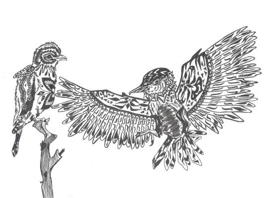"Николай Николаевич Оларь. Series of stylized drawings, ""Birds"" (1)"