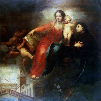 Андреа Челести. Мадонна с младенцем и Святым Антонием Падуанским
