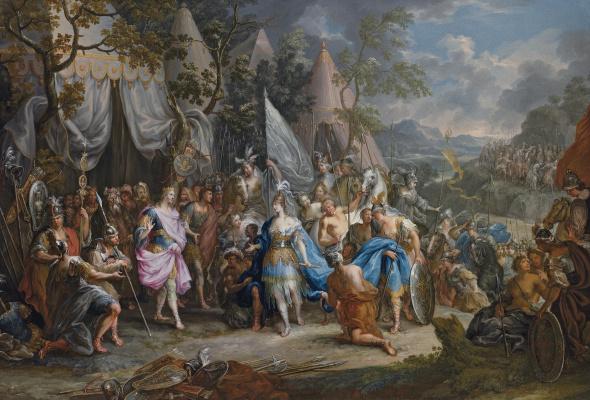 Иоганн Георг Платцер. Царица амазонок Фалестрис в лагере Александра Македонского