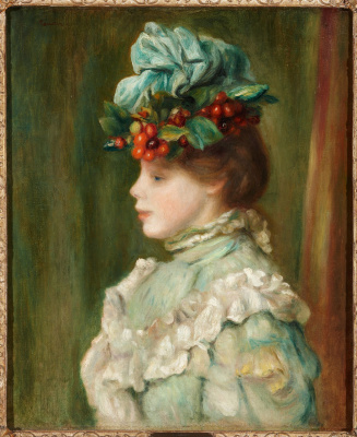 Girl in a hat with cherries