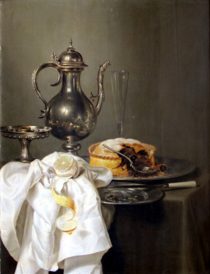 Still life with silver ewer and pie