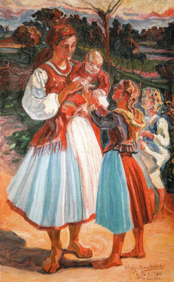 Алексей (Олекса) Новаковский. Young mother with children
