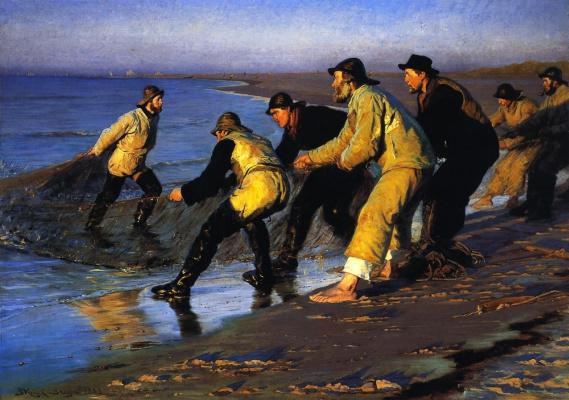 Peder Severin Kreyer. The fishermen pulled the network on the North beach of Skagen