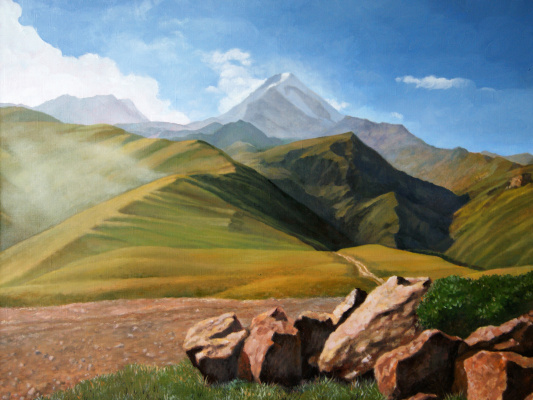 Alan Albegov. Kazbek. View from the Gergeti Monastery