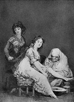 """Francisco Goya. """"She's praying for it"""" (Series """"Caprichos"""", page 31)"""