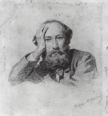 "Nikolai Nikolaevich Ge. Portrait Of G. P. Kondratyev. Drawing for the painting ""the last supper"""
