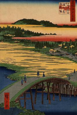 """Утагава Хиросигэ. Гравиевая площадка у мостов Сугатами и Омокагэ в Таката. Серия """"100 знаменитых видов Эдо"""""""