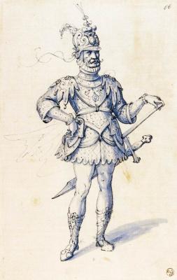 Giuseppe Arcimboldo. A man in knightly armor. Sketch