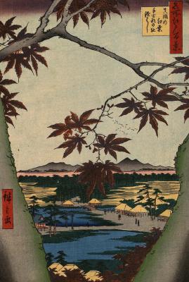 """Утагава Хиросигэ. Алые листья кленов в Мама, святилище Тэкона и мост Цуги. Серия """"100 знаменитых видов Эдо"""""""