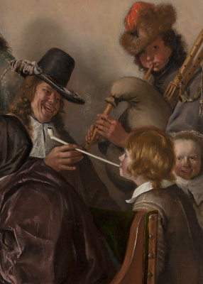 """Jan Steen. """"As the old sing, so the young pipe and plays"""". Snippet: self-portrait"""