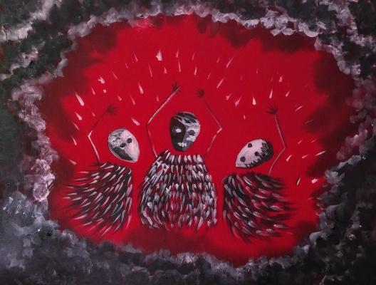 Marina Bocharova. Three shamans in clay masks