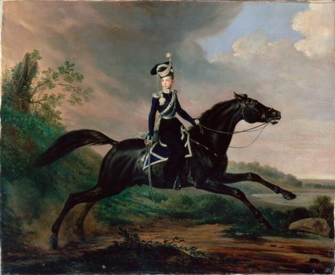 Franz Kruger. Equestrian portrait of Prince Alexander Nikolayevich