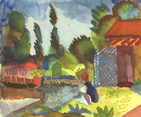 August Mac. Tunis landscape with a seated Arab