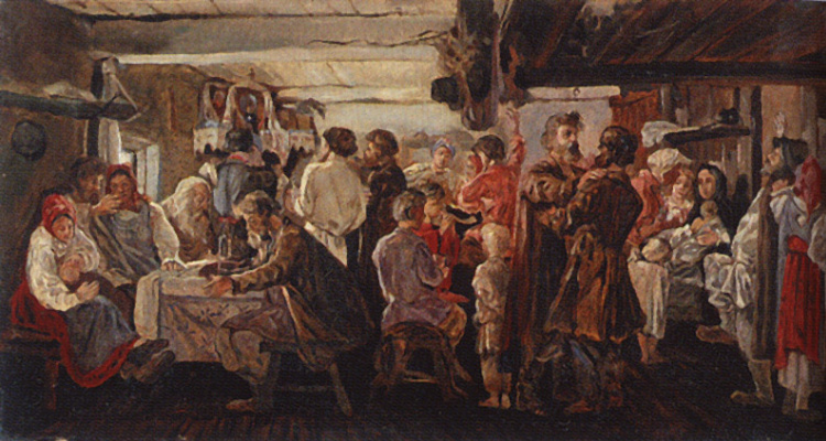 Andrei Petrovich Ryabushkin. Peasant wedding. 1880 Sketch option.