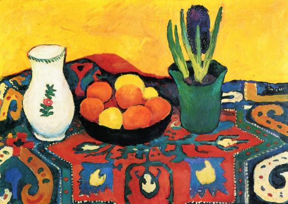 August Macke. Still life: hyacinths carpet and
