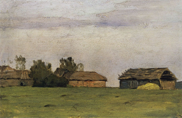 Isaac Levitan. Landscape with buildings. Etude