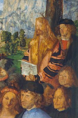 Albrecht Durer. Feast of the Rose Garlands, detail. Self-portrait