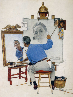 Norman Rockwell. Triple self portrait