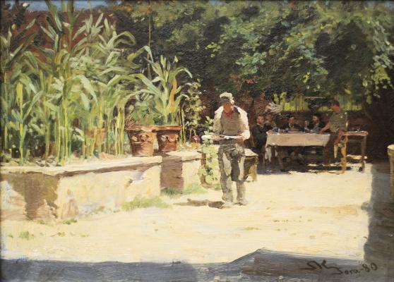Peder Severin Kreyer. The garden at Albergo del Lily in a litter. Abruzzo