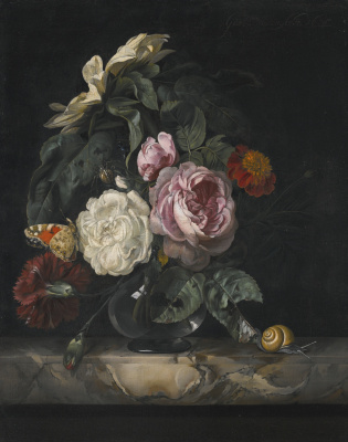 Willem van Aelst. Still life with roses, butterfly and snail