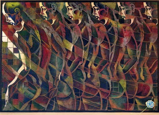 "Vladimir Kataev. ""Identification-6"",Х3М,A/R,2/3, Kraft, 45.5 X 65 cm, 2017"