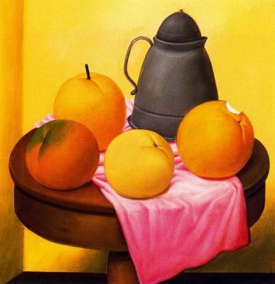 Fernando Botero. Still life with fruit and kettle