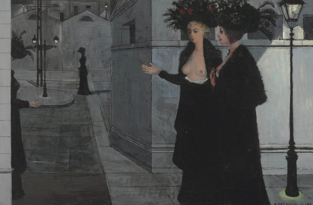 Paul Delvaux Belgium 1897-1994. Night walk. 1958's m. Private collection