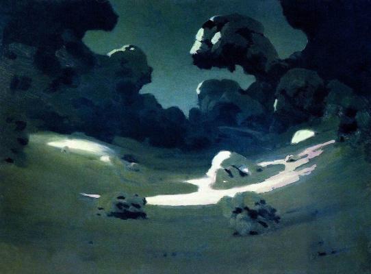 Arkhip Ivanovich Kuindzhi. Spots moonlight in the woods. Winter