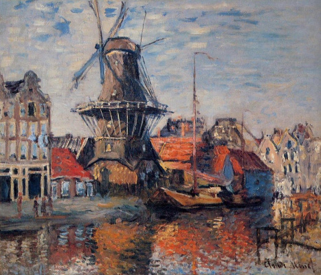 Claude Monet. Mill on canal Onbekende, Amsterdam