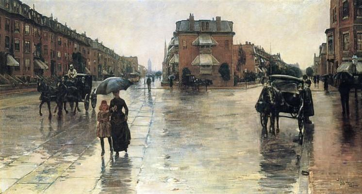 Childe Hassam. Rainy day, Boston