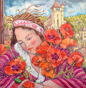 Girl with Poppies and Beetle