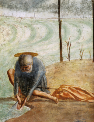 Tommaso Masaccio. Miracle with a statir (Payment of taxes). Fragment: Saint Peter with a fish