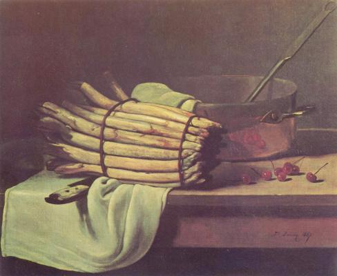 Francois Bonnen. Still life with asparagus