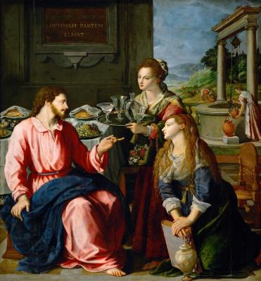 Jesus at Mary and Martha