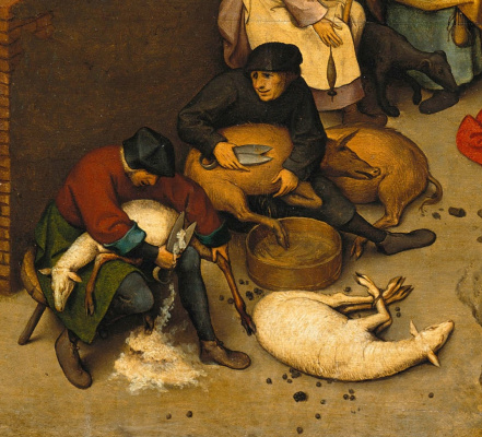 Pieter Bruegel The Elder. Flemish proverbs. Fragment: Someone shears sheep, and someone shears pigs - one has advantages, another has none