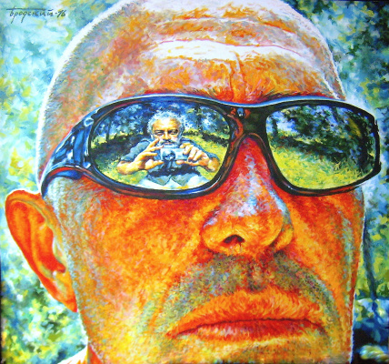 Давид Шикович Бродский. Self-portrait through glasses S. Bazileva