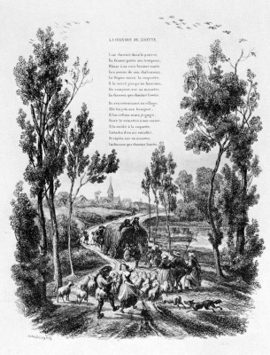 """Charles-Francois Daubigny. Illustrations to the collection """"French folk songs and songs"""": Song Lisette of the first vignette: the Return to the village"""