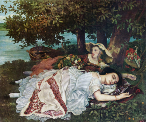 Gustave Courbet. Girls resting on the banks of the Seine