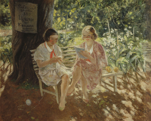 Александр Васильевич Шевченко. Две девушки пионерки. 1937